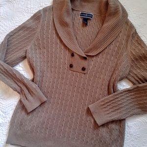 Karen Scott pullover taupe sweater,with collar